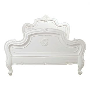 Carved Louis White Bed