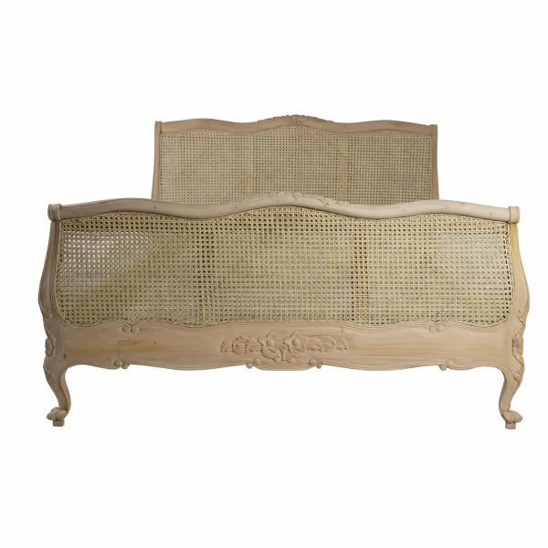 Raw French Mahogany Rattan Bed