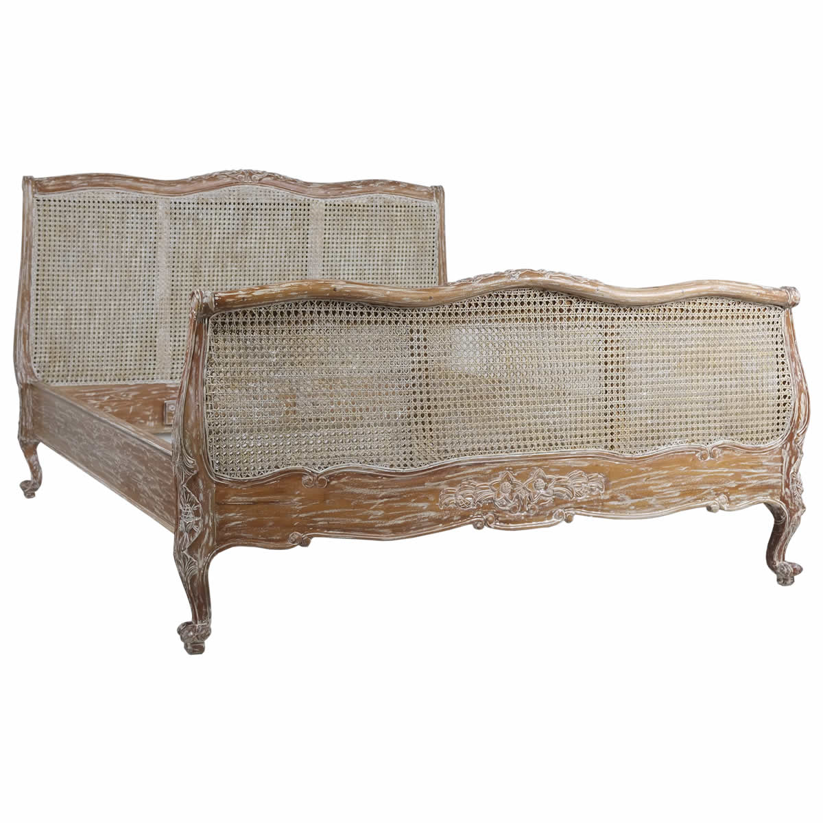 French White Wash Rattan Bed