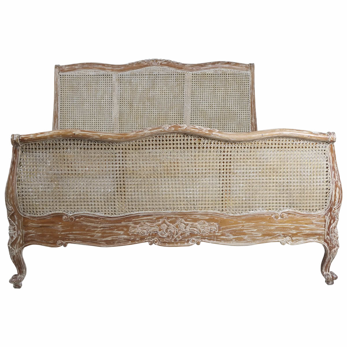 Louis rattan bed white wash