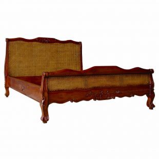 French Mahogany Rattan Low Foot Board Bed