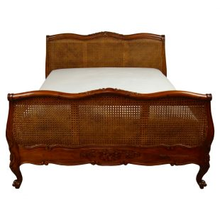 French Louis Mahogany Rattan Bed