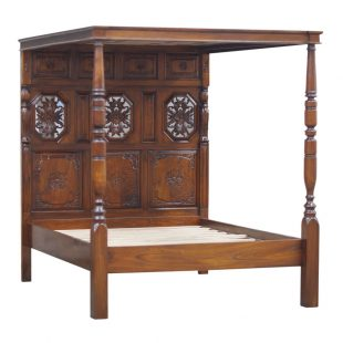 Jacobean Mahogany Four Poster Bed