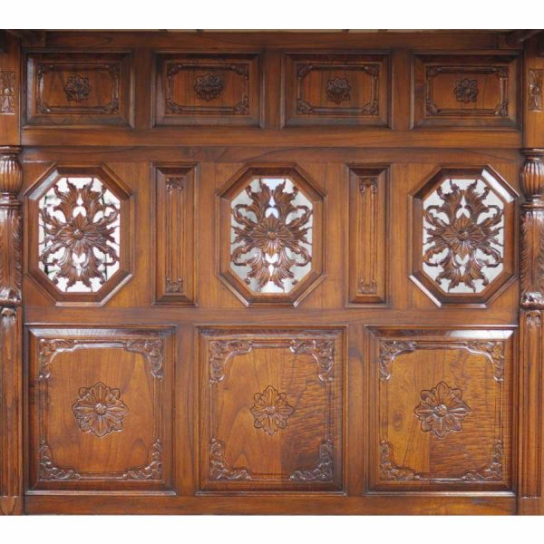 Jacobean Mahogany Four Poster Bed Panel