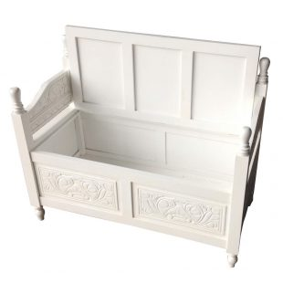Antique White Monks Bench