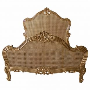 Gold Single Panel Rattan Bed