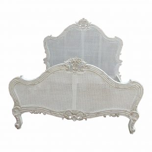 Louis rattan white french bed