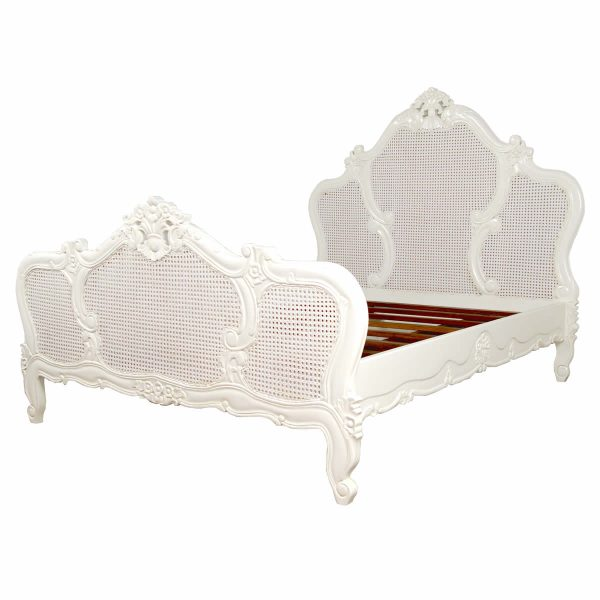 French White Louis Rattan Bed