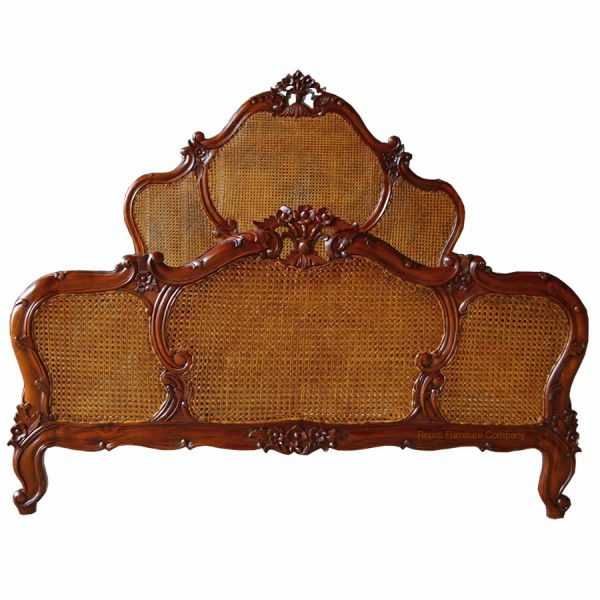 French Rattan Mahogany Bed