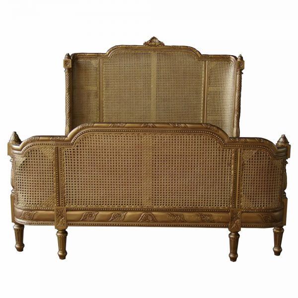 French bergere antique gold bed