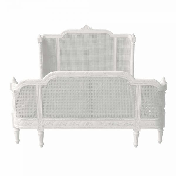 French antique white bergere bed