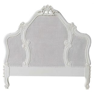 French Rattan Antique White Headboard