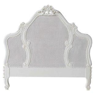 French Rattan Antique White Headboard