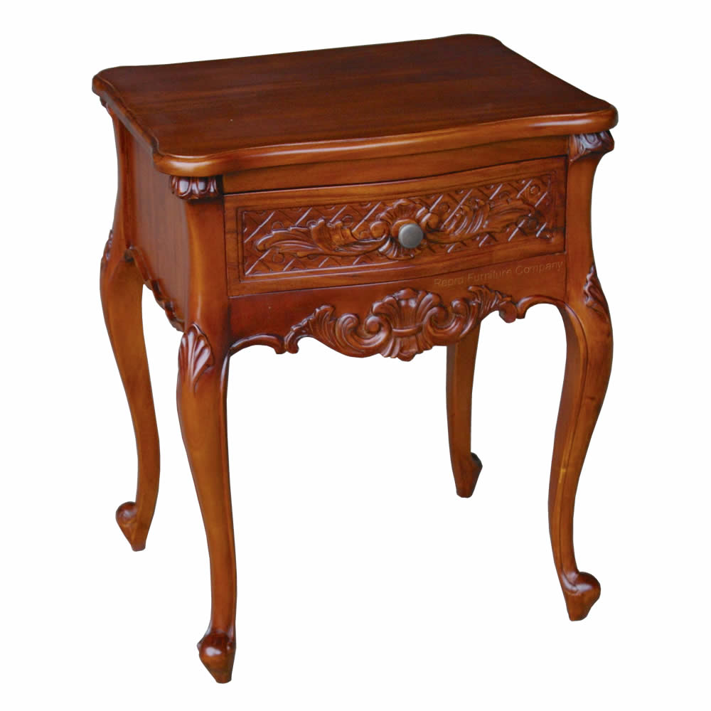 French one drawer mahogany bedside