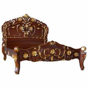Rococo two tone mahogany bed