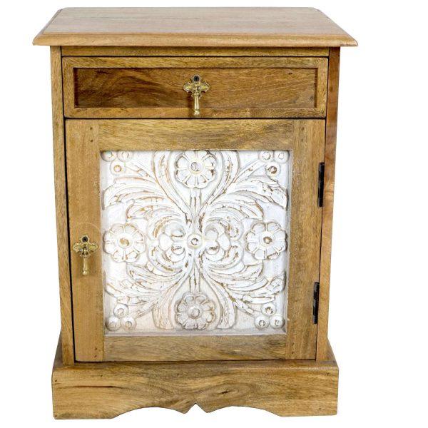 White Wash Carved Panel Bedside