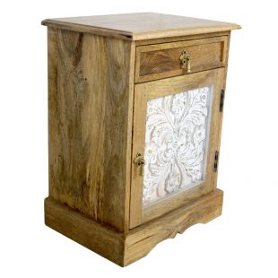 White Wash Carved Panel Bedside