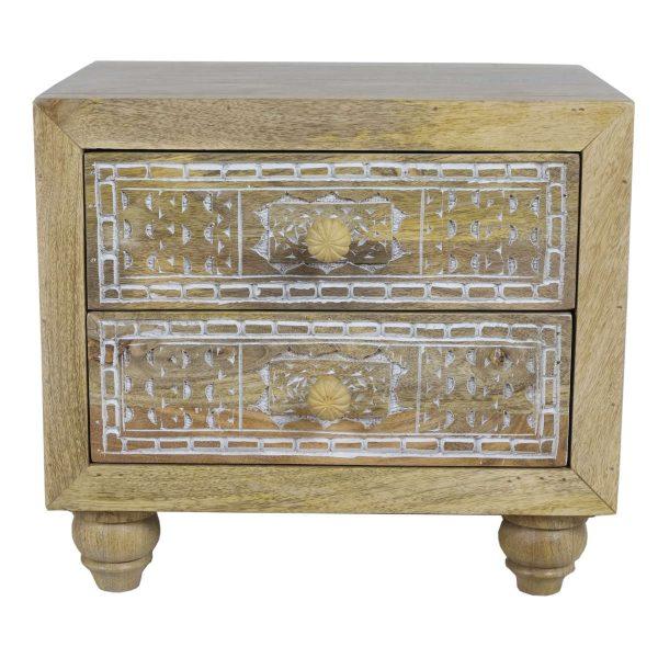 Mango wood compact bedside chest