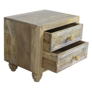 Compact Mango Wood Bedside Chest