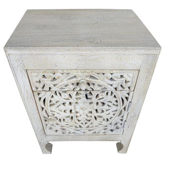 White wash filigree bedside cupboard