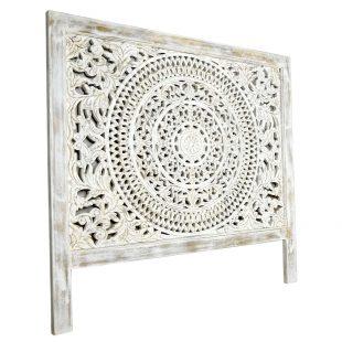 Filigree white wash headboard