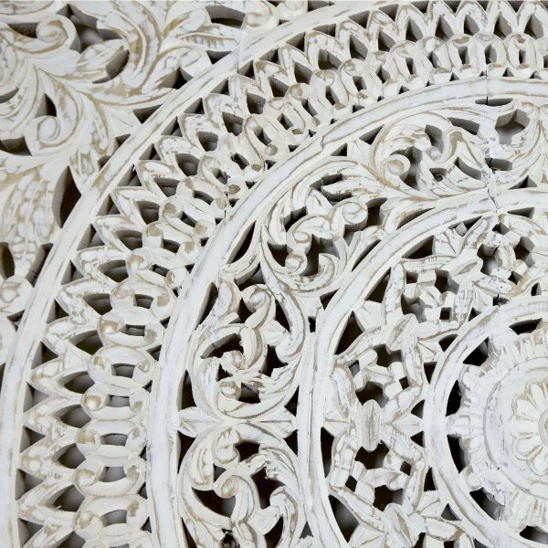 Indian White Carved Headboard Panel