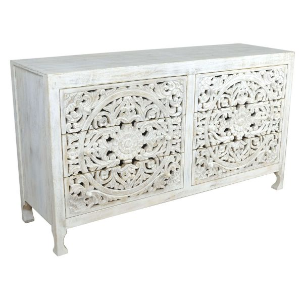 White Wash Wide Chest of Drawers