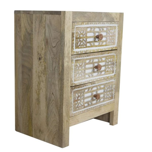 White Wash Bedside Chest