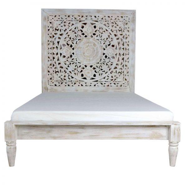 Mango Wood White Wash Jali Bed